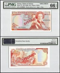 Jersey 10 Pounds, ND 1989, P-17s, AC Series, Queen Elizabeth II, Specimen, PMG 66