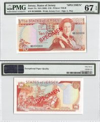 Jersey 10 Pounds, ND 1989, P-17s, BC Series, Queen Elizabeth II, Specimen, PMG 67