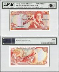 Jersey 10 Pounds, ND 1993, P-22s, DC Series, Queen Elizabeth II, Specimen, PMG 66