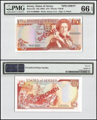 Jersey 10 Pounds, ND 1993, P-22s, FC Series, Queen Elizabeth II, Specimen, PMG 66