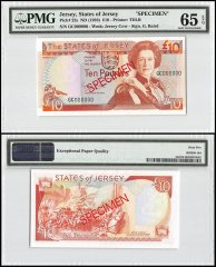 Jersey 10 Pounds, ND 1993, P-22s, GC Series, Queen Elizabeth II, Specimen, PMG 65