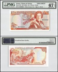Jersey 10 Pounds, ND 1993, P-22s, GC Series, Queen Elizabeth II, Specimen, PMG 67
