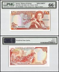 Jersey 10 Pounds, ND 1993, P-22s, HC Series, Queen Elizabeth II, Specimen, PMG 66