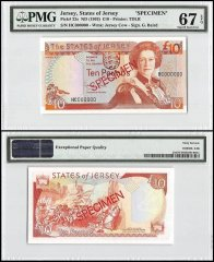 Jersey 10 Pounds, ND 1993, P-22s, HC Series, Queen Elizabeth II, Specimen, PMG 67