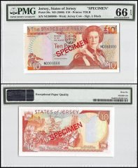 Jersey 10 Pounds, ND 2000, P-28s, NC Series, Queen Elizabeth II, Specimen, PMG 66