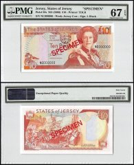 Jersey 10 Pounds, ND 2000, P-28s, NC Series, Queen Elizabeth II, Specimen, PMG 67