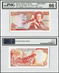 Jersey 10 Pounds, ND 2000, P-28s, PC Series, Queen Elizabeth II, Specimen, PMG 66