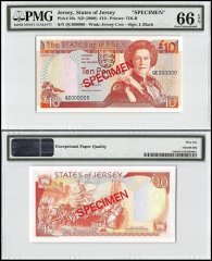 Jersey 10 Pounds, ND 2000, P-28s, QC Series, Queen Elizabeth II, Specimen, PMG 66