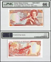 Jersey 10 Pounds, ND 2000, P-28s, RC Series, Queen Elizabeth II, Specimen, PMG 66