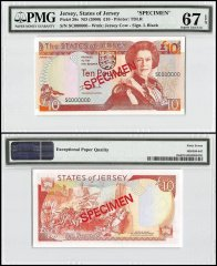 Jersey 10 Pounds, ND 2000, P-28s, SC Series, Queen Elizabeth II, Specimen, PMG 67