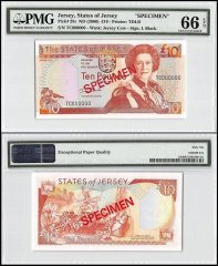 Jersey 10 Pounds, ND 2000, P-28s, TC Series, Queen Elizabeth II, Specimen, PMG 66