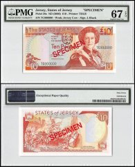 Jersey 10 Pounds, ND 2000, P-28s, TC Series, Queen Elizabeth II, Specimen, PMG 67