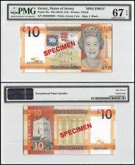 Jersey 10 Pounds, ND 2010, P-34s, Queen Elizabeth II, Specimen, PMG 67