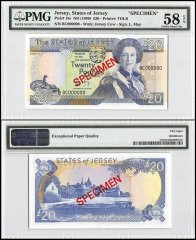 Jersey 20 Pounds, ND 1989, P-18s, BC Series, Queen Elizabeth II, Specimen, PMG 58
