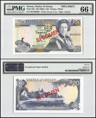 Jersey 20 Pounds, ND 2000, P-29s, MC Series, Queen Elizabeth II, Specimen, PMG 66