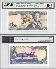 Jersey 20 Pounds, ND 2000, P-29s, PC Series, Queen Elizabeth II, Specimen, PMG 66