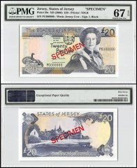 Jersey 20 Pounds, ND 2000, P-29s, PC Series, Queen Elizabeth II, Specimen, PMG 67