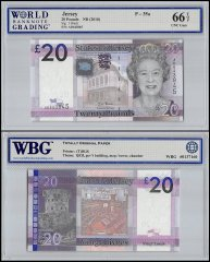 Jersey 20 Pounds Banknote, ND 2010, P-35a, UNC, Queen Elizabeth II, WBG 66 TOP
