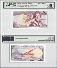 Jersey 5 Pounds, ND 1993, P-21s, FC Series, Queen Elizabeth II, Specimen, PMG 66