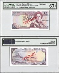 Jersey 5 Pounds, ND 1993, P-21s, FC Series, Queen Elizabeth II, Specimen, PMG 67