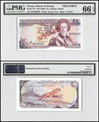 Jersey 5 Pounds, ND 1993, P-21s, HC Series, Queen Elizabeth II, Specimen, PMG 66