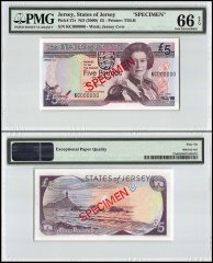 Jersey 5 Pounds, ND 2000, P-27s, Specimen, Queen Elizabeth II, PMG 66