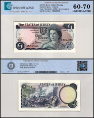 Jersey 1 Pound Banknote, 1976, P-11a, Prefix-KB, UNC, TAP 60-70 Authenticated