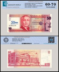 Philippines 50 Piso Banknote, 2013, P-217, UNC, TAP 60 - 70 Authenticated