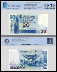 Hong Kong 20 Dollars Banknote, 2009, P-335f, UNC, TAP 60-70 Authenticated