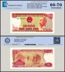 Vietnam 10,000 Dong Banknote, 1993, P-115, UNC, TAP 60 - 70 Authenticated