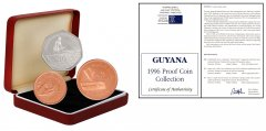 Guyana 1 - 10 Dollars Copper/Nickel Plated Steel, 3 Pieces Coin Set, 1996, Mint