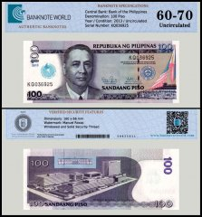 Philippines 100 Piso Banknote, 2013, P-221, UNC, TAP 60-70 Authenticated