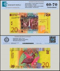 Samoa 20 Tala Banknote, 2014, P-40b, UNC, TAP Authenticated