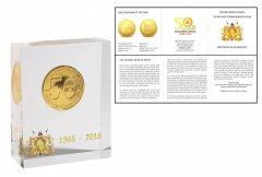 Kenya 50 Shillings 28g Gold Plated Coin Block, 2016, Mint, 50th Anniversary Central Bank