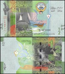 Kuwait 1/2 Dinar Banknote, 2014, P-30, UNC, Replacement
