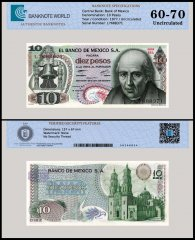 Mexico 10 Pesos Banknote, 1977, P-63i, Series 1EL, UNC, TAP Authenticated