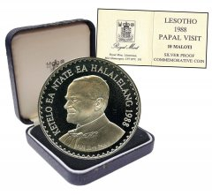 Lesotho 10 Maloti 28.28g Silver Proof Coin, 1988, KM # 50, Mint, Papal Pope Visit