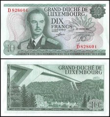 Luxembourg 10 Francs Banknote, 1967, P-53a, UNC