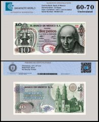 Mexico 10 Pesos Banknote, 1977, P-63i, Series 1EM, UNC, TAP Authenticated