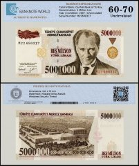 Turkey 5 Million Lira Banknote, 1997, P-210, Prefix - M, UNC, TAP 60 - 70 Authenticated