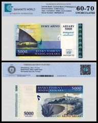 Madagascar 5,000 Ariary Banknote, 2008, P-94a, UNC, TAP 60 - 70 Authenticated