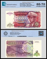Zaire 1 Million Zaires Banknote, 1993, P-45b, UNC, TAP 60 - 70 Authenticated