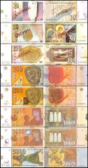 Macedonia 10 -  5,000 Denari Pamphlet 8 PCS Set, 1996-2003, P-14-22, UNC