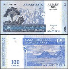 Madagascar 100 Ariary Banknote, 2004, P-86b, UNC