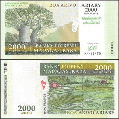Madagascar 2,000 Ariary Banknote, 2007, P-93, UNC