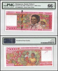 Madagascar 25,000 Francs, ND 1998, P-82, PMG 66