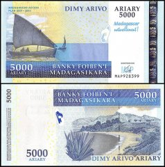 Madagascar 5,000 Ariary Banknote, 2008, P-94, UNC