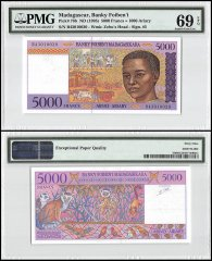 Madagascar 5,000 Francs, ND 1995, P-78b, PMG 69