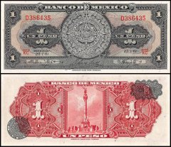 Mexico 1 Peso Banknote, 1961, P-59g, UNC, Series KC