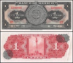 Mexico 1 Peso Banknote, 1965, P-59i, UNC, Series BCT